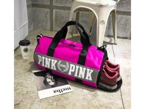 Športová taška s úložným priestorom na topánky- šedá, ružová (Farba Růžová)