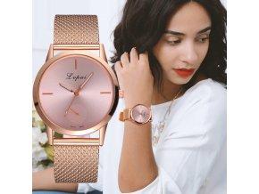 Vianočné darčeky pre ženy- dámske náramkové hodinky s kovovým remienkom viac farieb (Farba Čierna)