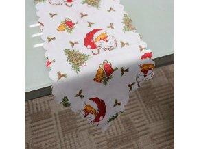 16059 vianocny obrus behun na stol biely 180 36 cm