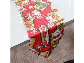 16062 vianocny obrus behun na stol cerveny 180 36 cm