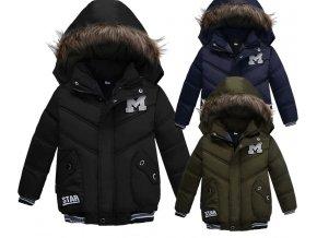 Zimní bundy- luxusní teplá bunda pro chlapce s kožíškem na kapuce černá, zelená, modrá- VÝPRODEJ SKLADU (Barva Zelená, Vel 110)