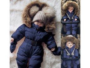 Zimní overal kombinéza s kožíškem pro chlapce a dívky- VÝPRODEJ SKLADU (Vel 9m)