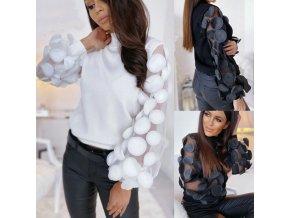 Dámsky módny sveter so zaujímavými rukávmi BLACK and WHITE