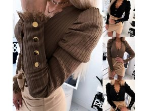 Elegantný dámsky sveter s dlhým rukávom a čipkou