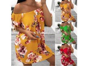 Dámské pohodlné plážové letné šaty s kvetmi až 2XL