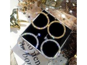 Pre ženy- Luxusné náušnice kruhy s kamienkami dve farby