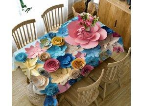 Kuchyňa- Luxusný 3D obrus na stôl FAREBNÉ KVETY vice veľkosti