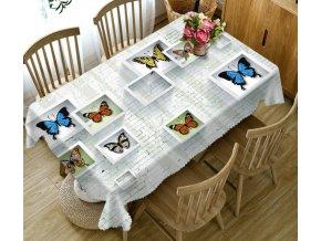 Kuchyňa- Luxusný 3D obrus na stôl s farebnými motýliky vice veľkosti