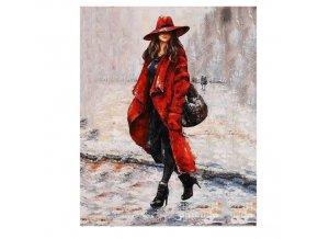 Maľovanie podľa čísel na plátno pre dospelých-motív ženy v klobúku