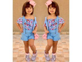 Oblečenie pre deti- Štýlový dievčenské set s kvetmi, tričko a kraťasy