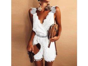 Luxusný elegantní dámsky bielý letní overal NEW