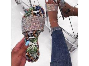 Dámske topánky- Dámske luxusné lesklé letné šľapky s kamienkami