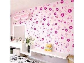 Tapety na stenu - Samolepiace kvety na stenu do detskej izby 105ks dve farby
