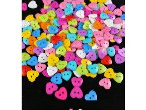 Šití- mix farebných gombíka srdiečka 50ks / 10mm