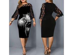 Dámske letné elegantné šaty čierne pre plnoštíhle až 6XL