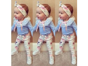 Detské oblečenia- lacný dievčenské set tričko nohavice a čelenka NEW