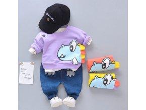 Oblečenie pre deti - chlapčenský bavlnený set - potlač s dinosaurom