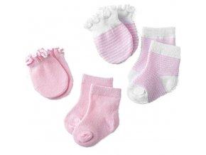 ponožky pre novorodenca - sada ponožiek a rukavíc pre dievčatko a chlapčeka - v ružovej a modrej farbe