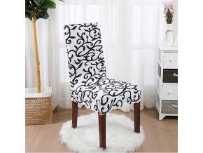 Poťah na stoličky - napínacie poťahy - vzorovaný poťah s ornamentami - viac farieb