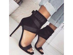 Topánky - dámske topánky - topánky na podpätku - luxusné sandále na vysokom podpätku zdobené prackou