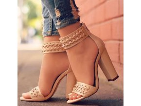 Topánky - dámske topánky - topánky na podpätku - krásne topánky zdobené remienky - darček pre ženu