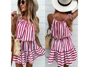 oblečenie - šaty - letné šaty - prúžkové červenobiele šaty - výpredaj skladu