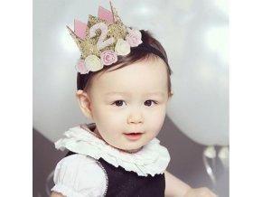 Deti - narodeniny - korunka - kvety - narodeninová detská čelenka v tvare korunky s číslom