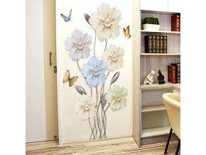 Dekorácie - tapeta - samolepky na stenu - nástenná dekorácia - samolepka na stenu so vzorom kvetín a motýľov