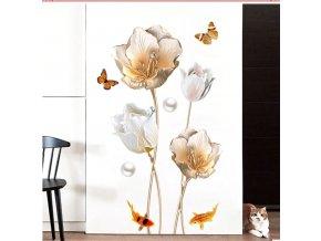Dekorácie - tapeta - samolepky na stenu - nástenná dekorácia - samolepka na stenu so vzorom kvetín a motýľov a rýb