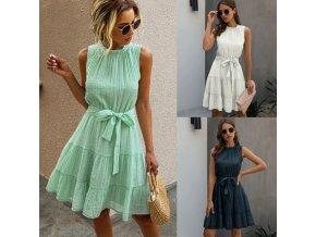oblečenie - šaty - letné šaty - dámske šaty - letné dámske šaty s volánikmi a mašľou na zaväzovanie