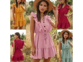 oblečenie - šaty - letné šaty - dámske šaty - letné dámske šaty s volánikmi zdobené gombíkmi - módny hit
