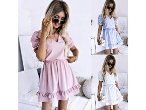 oblečenie - letné šaty - dámske šaty - spoločenské šaty - krásne šaty s volánikmi a krátkym rukávom