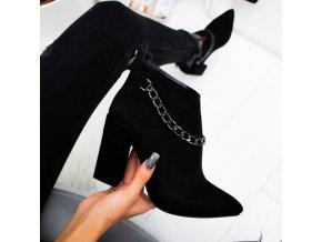 topánky - dámske topánky - zimné topánky - jeseň - zima - zimné topánky na podpätku zdobené retiazkou