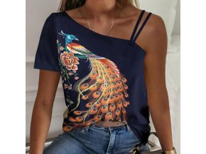 Dámske oblečenie - dámske tričká - tričká s potlačou - elegantné tričko s potlačou páva