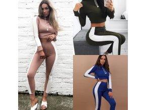 Dámske oblečenie - športové oblečenie - legíny - dvojdielna športová súprava legíny + mikina s prúžkom - darček pre ženu