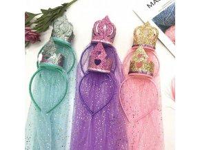 čelenka do vlasov - účesy - krásna čelenka s korunkou a závojom - korunka - princezná - darček pre dievčatko
