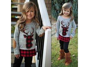 Oblečení - dětské oblečení - krásný zimní set pro holčičku tričko + legíny - vánoce  - sob - vánoční dárek