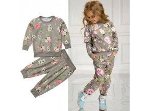 Detské oblečenie - oblečenie pre deti - šedivá tepláková súpravu s potlačou kvetín pre dievčatko - tepláky - mikina
