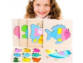deti - hračky pre deti - drevené hračky - vzdelávacie drevená vkladacie puzzle - puzzle - darček pre deti