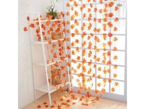 jeseň - jesenné dekorácie - závesná jesenné girlanda s listami javora dlhá 2,4 m - javor - dekorácie