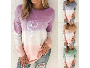 Dámske oblečenie - dámske tričká - tričká s potlačou - OMBRA tričko s dlhým rukávom S POTLAČOU púpavy - nadmerné veľkosti
