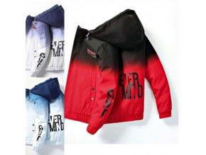 oblečenie - pánska zimná bunda - zimné bundy - pánska zimná bunda s kapucňou a nápisom - darček pre muža - vianočný darček