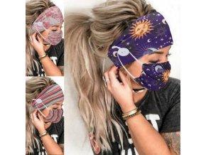 Rúška - ochranné rúška - bavlnené rúška - čelenka do vlasov - sada čelenka + rúško s módnym potlačou - výpredaj skladu