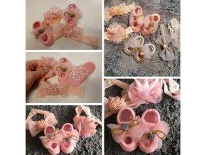 Novorodenec - bábätko - oblečenie pre bábätká - krásna sada pre dievčatko ponožky + mašle - ponožky