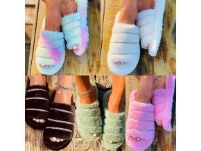 Topánky - šľapky - dámske šľapky - dámske chlpaté papuče - vianočný darček