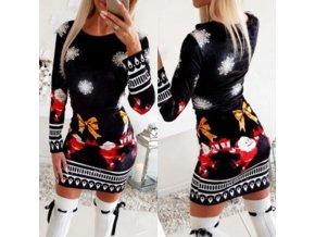 Dámske oblečenie - šaty - dámske šaty - vianoce - vianočné šaty - upnuté čierne šaty s vianočným potlačou - výpredaj skladu