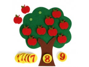 Hračky - montessori - detská matematická hračka pomocou jabĺk - matematika - darček pre deti
