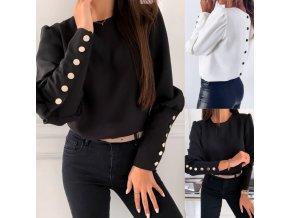 Dámske oblečenie - dámske blúzky - krásna módne blúzka zdobená gombíkmi v čiernej a bielej farbe - spoločenský blúzky - košele