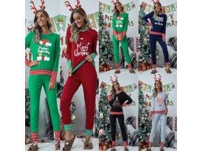 Dámske oblečenie - vianoce - dámske pyžamo s vianočným potlačou vo viacerých farbách - nadmerné veľkosti - vianočné pyžamo
