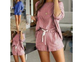 Dámske oblečenie - dámske pyžamo - bavlnené dámske pyžamo kraťasy + tričko - dámske tričko - výpredaj skladu